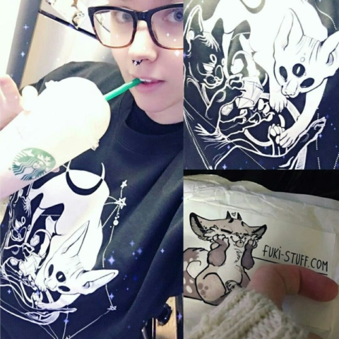I'm in love with this awesome wrinkle witchy cat sweater! I usually don't make these kinds of posts but she is an awesome illustrator and tattoo artist!!! ❤